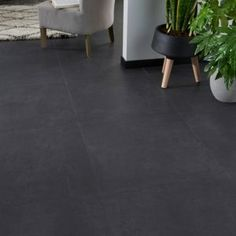 GoodHome Jazy Slate Tile effect Luxury vinyl click flooring, Pack - B&Q for all your home and garden supplies and advice on all the latest DIY trends Luxury Vinyl Click Flooring, Black Vinyl Flooring, Vinyl Flooring Kitchen, Kitchen Floor, Karndean Flooring, Pvc Flooring, Slate Flooring, Underfloor Heating Systems, Loft Room