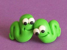 worm stud earrings polymer clay fimo handmade