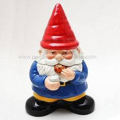 There's no place like Gnome! You can never go Gnome again! Gnome is where the heart is. We ran out of Gnome puns Ceramic Cookie Jar, Ceramic Jars, Glazed Ceramic, Pots, Biscuits, Cute Kitchen, Kitchen Dining, Kitchen Stuff, Kitchen Decor