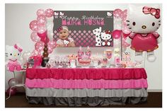 Candy buffet or dessert table are very popular for birthday parties, engagement, wedding, baby shower / mom-to-be and aqiqah event. Hello Kitty Theme Party, Kitty Party Games, Hello Kitty Themes, Hello Kitty Birthday, Cat Party, First Birthday Party Themes, 1st Birthday Girls, Birthday Party Decorations, Birthday Ideas