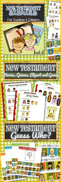 It's finally here! THE BIBLE! An easy and fun way to teach toddlers and children Bible Stories from the New Testament. These colorful pages make it simple, interactive and keep little ones engaged! Stories Include: 1) Heavenly Father's Plan 2) Mary and Joseph See Angels 3) John the Baptist 4) Jesus' Birth 5) Wicked King Herod and the Boy Jesus. Also included are Quizzes, Graphics and Guess Who Game.