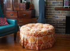 How to reupholster a round tufted ottoman. Upholstering