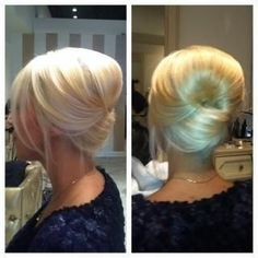 Modern French twist.. I love this, The old french twist of my day was too tight and matronly. This is elegant and the few wispy pieces in front make it casual as well. Would look great with a few sprigs of babies breath or a small decorative hairpin in the seam of the twist.