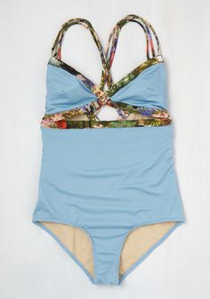 Waterfront Row Center One-Piece Swimsuit. Anywhere you can be spotted sporting this sky blue swimsuit is the best seat on the beach! #blue #modcloth