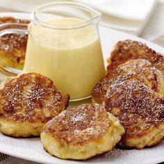 Kleine Apfelpuffer mit Vanillesauce (auch mit Pfirsichen)