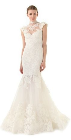 Marchesa Lace Gown with Illusion