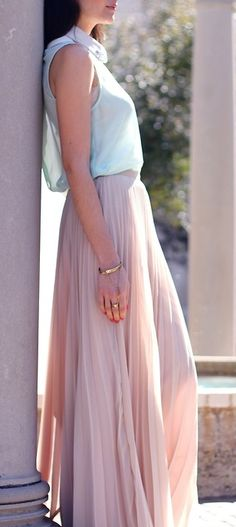 Mint top + nude pleated skirt