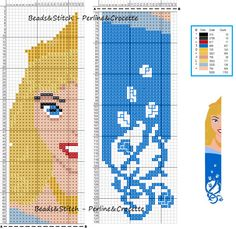 marque page aurore Cross Stitch Bookmarks, Cross Stitch Books, Beaded Cross Stitch, Cross Stitch Charts, Cross Stitch Embroidery, Disney Cross Stitch Patterns, Cross Stitch For Kids, Cross Stitch Designs, Disney Stitch