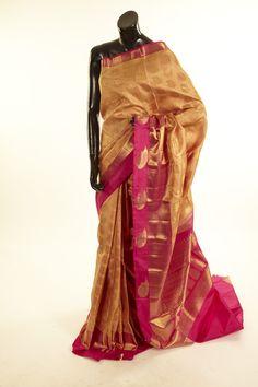 silk light dusty peach fuschia pink saree with blouse - Sarees