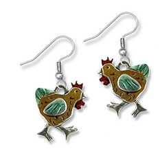 Enamel Green and Brown Chicken Earrings by The Magic Zoo ** Read more reviews of the product by visiting the link on the image.