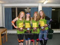 Cool homemade ninja turtles costume for a group of girls pinterest fun and easy teenage mutant ninja turtles girls group halloween costume solutioingenieria Image collections