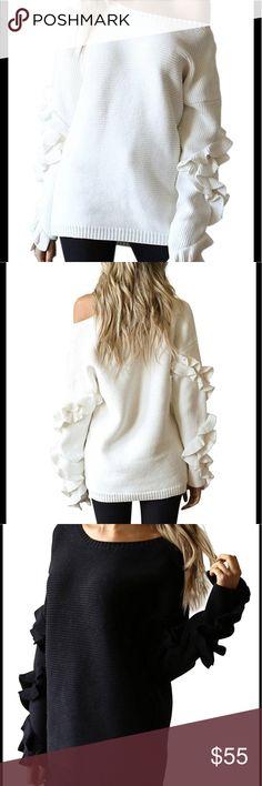 Chic ruffled sweater Beautiful women sweater Sweaters