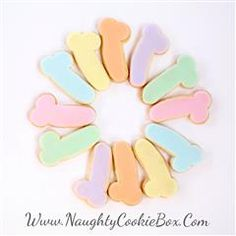 The Naughty Cookie Box | Delicious Treats with a Naughty Twist! Pastel Poppers Penis Cookies! Www.NaughtyCookieBox.Com Scrumptious mini pastel penis cookies  Fit it all, in just ONE bite!! They come in a soft and feminine combination of Green, Pink, Orange, Yellow, Blue and Purple all in one pack! A perfect Easter Basket stuffer or a dainty and dirty tea party!
