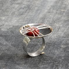 Big chunky Sterling Silver Ring Statement Ring Silver and by Menno