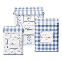 The perfect storage solution ~ square tin box set in pretty floral and gingham Audrey indigo design from GreenGate, Denmark. Large tin = high x wide. Medium tin = high x wide. Small tin = high x wide. Love Blue, Blue And White, Dark Grey, Cocina Shabby Chic, Small Tins, Canister Sets, Canisters, Country Blue, Himmelblau