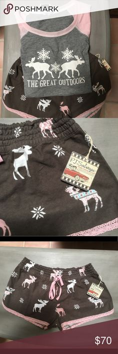 🎁PJ SALVAGE Pajama Set PJ Salvage Pajama Set. Super CUTE, selling as a set. Top has long, raglan sleeve. Pink and grey with moose and Great Outdoors graphics that are slightly distressed looking. Bottoms are cocoa brown with pink lace trim and pink drawstring waist. Covered in whimsical moose. So soft, so cute. 🎁 PJ Salvage Intimates & Sleepwear Pajamas