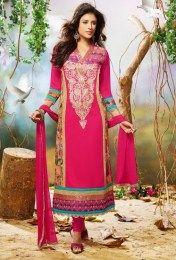 Awesome Embroidery Work In Pink Color Straight Salwar Suit