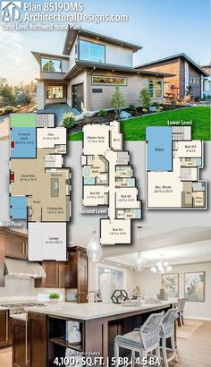 Architectural Designs Home Plan 85190MS Gives You 5 Bedrooms, 4.5 Baths And  4,100+ Sq