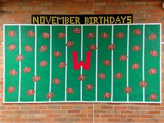 November Birthday Bulletin Board - Footballs