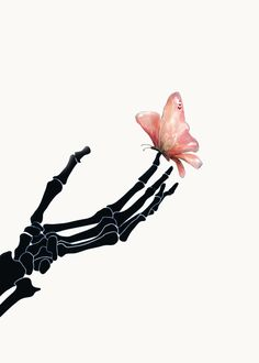 Butterfly on Skeleton Hand Hoody by Nadja - Unisex Pullover Black - MEDIUM - Front Print - Pullover Skeleton Art, Skeleton Hands Drawing, Skeleton Makeup, Skull Makeup, Poster Mural, Human Anatomy Art, Tatto Ink, Skull Wallpaper, Aesthetic Backgrounds