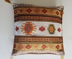 """Authentic rug (kilim), patterned pillow cover, has the same fabric as front and rear. 17,5""""x 17,5"""""""