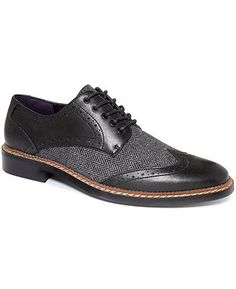 Bar III Shoes, Monte Mixed Media Wing-Tip Oxfords - All Men's Shoes - Men - Macy's