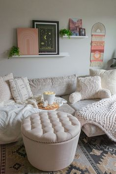 Round Tufted Storage Ottoman with Nailheads via @gypsytan_. #cozy #livingroom #familyroom #den #winter #hygge #movienight Round Tufted Ottoman, Tufted Storage Ottoman, Linens And More, Affordable Furniture, Better Homes And Gardens, Home Decor Items, A Table, Living Room Decor, Home Goods