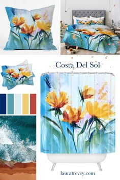 Shop this colorful Coastal bedding and bath collection Costa Del Sol designed by Laura Trevey