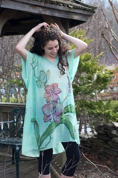 Hand Painted Silk Tunic Caftan Dress Mint  Kaftan Dress Orchids and Butterflies One Size Ready to Ship