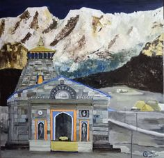 Original Architecture Painting by Jatin Chatterjee Temple Drawing, Impressionism, Impressionist Landscape, Tibet, Original Art, Original Paintings, India Painting, Scribble Art, Goddess Art