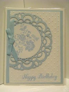 handmade birthday card ... babyu blue and white ... sweet!! ... doily die cut with circle with lovely flowers ... off the edge design ... Stampin' Up!