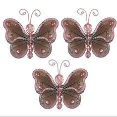 Butterfly Decor 3 Brown Pink Mini XSmall Wire Hanging Nylon Mesh Butterflies 3 Piece Decorations Set Decorate Baby Nursery Bedroom Girls Room Wall Wedding Birthday Party Shower Craft Parties DIY Art ** Click image for more details.