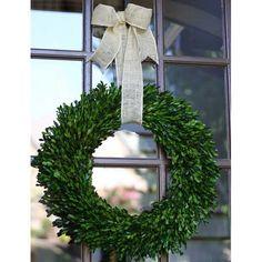 "Garden Variety Boxwood Wreath with Burlap Hanger -14"""