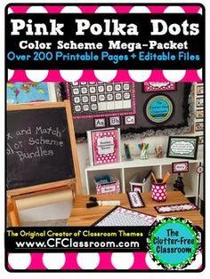 Classroom Color Scheme, Classroom Themes, Classroom Environment, Classroom Resources, Teaching Resources, Teaching Ideas, Polka Dot Theme, Pink Polka Dots, Polka Dot Classroom