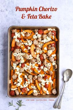 Low-Carb Pumpkin, Chorizo & Feta Bake