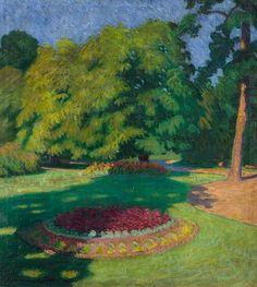 File:Tibor Boromisza - Town Garden in Baia Mare 110x98 oil on canvas 1906.jpg