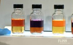 """Great halogen/halide IMF demo; halide/halogen side-by-side dissolution in mineral oil; particularly the time between 7:10-(8:45 make predictions)-11:50  """"All in the Family"""" Properties of Halogens from Flinn. Kit available. Is Cl2/Br2/I2 more soluble in hexane or water?"""