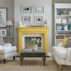 Grey-living-room-with-yellow-fireplace-- It's NOT boring! :)