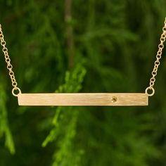 Gold vermeil citrine bar necklace, 'Simple Abundance' - 24k Gold Vermeil and Citrine Modern Bar Necklace