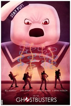 Ghostbusters All Time FAVORITE Stay Puft Movie Poster Art Film Posters