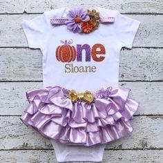 3a38643c24 Pumpkin Theme Birthday-Orange Lavender Gold outfit First Birthday