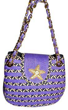 477b6097baf8 Eric Javits Violet Starfish Squishee Woven Mini Chain Strap Hobo Bag on  Sale