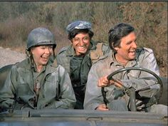 Margaret, Klinger & Hawkeye coming back from the front lines to help with the wounded - Hawkeye told Margaret she was his favorite officer