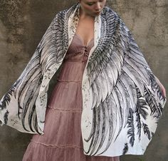White Women scarf, Hand painted Wings and feathers in Modal/rayon, stunning unique and useful, perfect gift