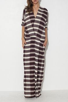 Crispy Wine Plaid Long Dress by Humanoid | shopheist.com