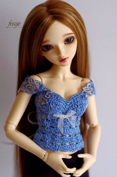 Blue crochet top corset for MSD by frezje
