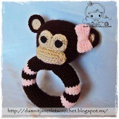 Instant Download - PDF Crochet Pattern - Monkey Rattle