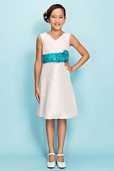 White V-neck Knee-length Taffeta Short Junior Bridesmaid Dress with Pool Waistband