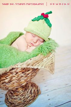 Boston Beanies Holiday Holly Hat, Knit Cotton Baby Hat,  great photo prop on Etsy, $28.00