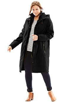 Women's Plus Size Jacket, Stadium Style In Twill Black,4X